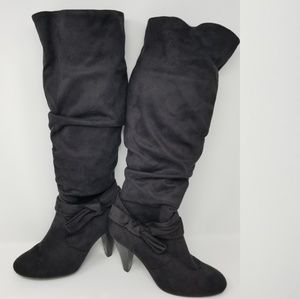 Black suede stacked heel slouch boots